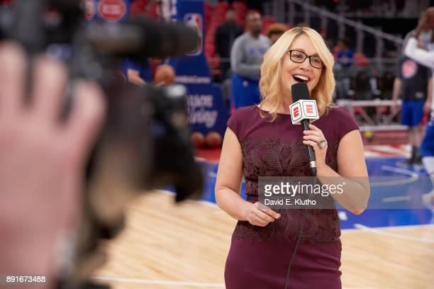 Closeup of ESPN NBA analyst Doris Burke during telecast of Detroit Pistons vs Golden State Warriors game at Little Caesars Arena Detroit MI CREDIT...