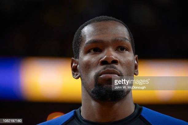 Closeup of Golden State Warriors Kevin Durant warming up before preseason game vs Los Angeles Lakers at T Mobile Arena Las Vegas NV CREDIT John W...
