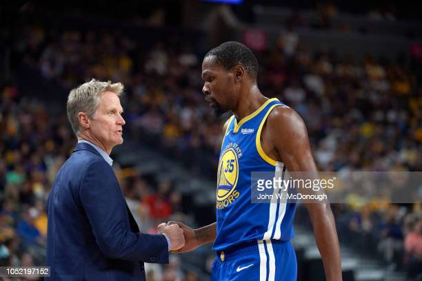 Closeup of Golden State Warriors Kevin Durant with coach Steve Kerr during preseason game vs Los Angeles Lakers at T Mobile Arena Las Vegas NV CREDIT...