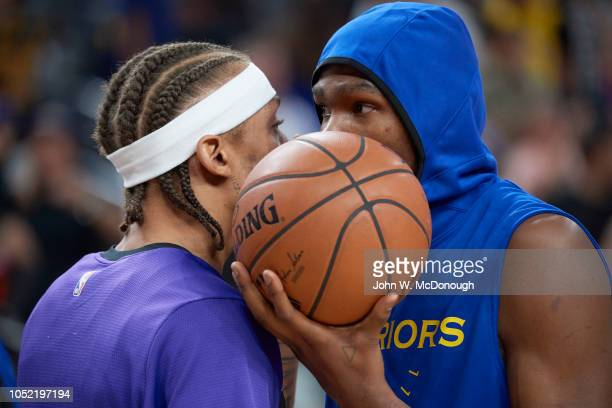 Closeup of Golden State Warriors Kevin Durant with Los Angeles Lakers Michael Beasley before preseason game at T Mobile Arena Las Vegas NV CREDIT...