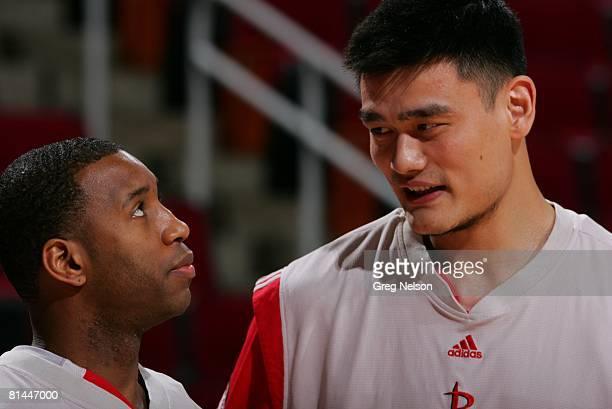 Basketball Closeup of Houston Rockets Tracy McGrady and Yao Ming before game vs Detroit Pistons Houston TX 3/22/2007
