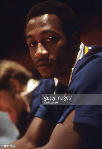 Closeup of Indiana Pacers George McGinnis on bench during game vs Denver Rockets at Denver Auditorium Arena Denver CO CREDIT Carl Iwasaki
