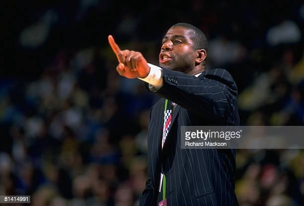Basketball Closeup of Los Angeles Lakers coach Magic Johnson during game vs Milwaukee Bucks Los Angeles CA 3/27/1994