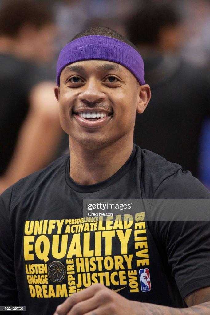 Closeup of Los Angeles Lakers Isaiah Thomas before game vs Dallas Mavericks at American Airlines Center. Greg Nelson TK1 )