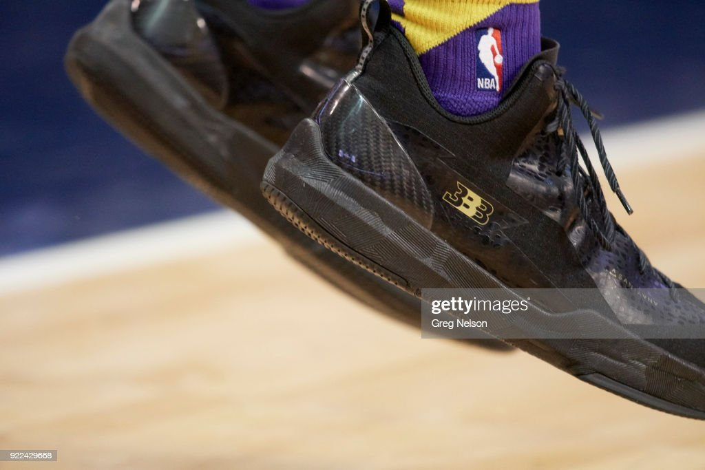 Closeup of Los Angeles Lakers Lonzo Ball's sneakers before game vs Dallas Mavericks at American Airlines Center. Equipment. Greg Nelson TK1 )