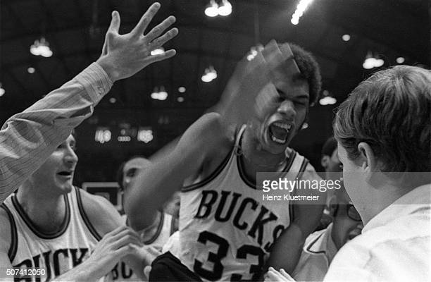 Closeup of Milwaukee Bucks Lew Alcindor victorious with teammates after winning game vs New York Knicks at Milwaukee Arena. Milwaukee, WI 1/2/1970...
