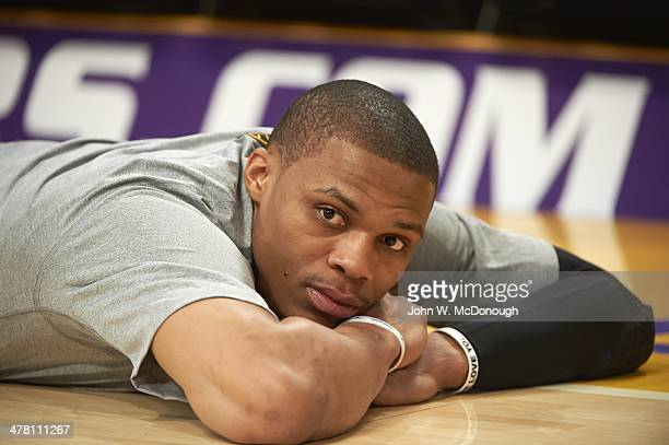 Closeup of Oklahoma City Thunder Russell Westbrook lying on court before game vs Los Angeles Lakers at Staples Center Los Angeles CA CREDIT John W...
