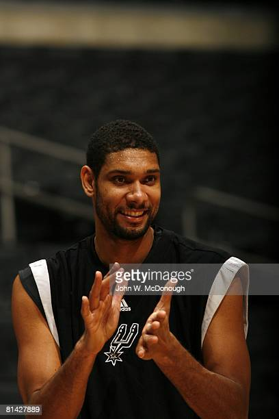 Basketball Closeup of San Antonio Spurs Tim Duncan on court before game vs Los Angeles Clippers Los Angeles CA