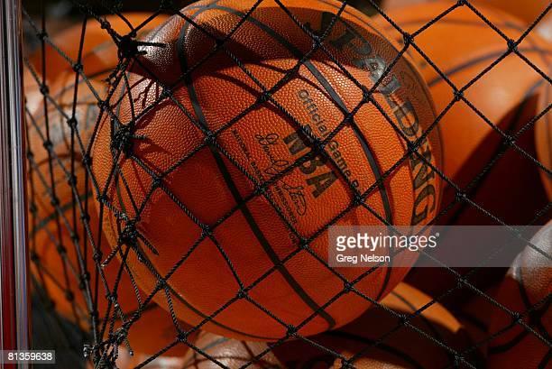 Basketball Closeup of Spalding ball equipment before Houston Rockets vs Orlando Magic preseason game Houston TX