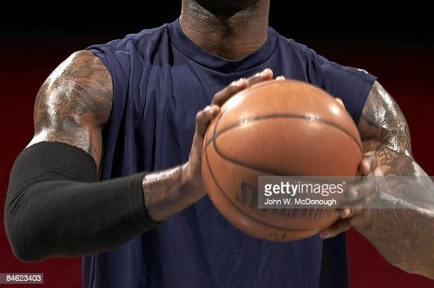 Closeup of tattoos on arms of Cleveland Cavaliers Lebron James during warmups before game vs Orlando Magic Equipment Orlando FL 1/29/2009 CREDIT John...