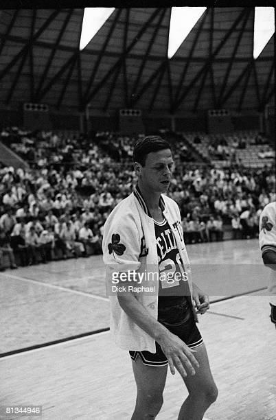 Basketball Closeup of writer George Plimpton warming up with Boston Celtics before preseason game vs Atlanta Hawks Kingsport TN 9/24/19689/25/1968