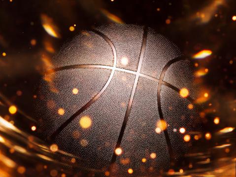Basketball close-up on studio background - Stock image 1056626420