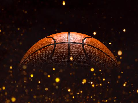 Basketball close-up on studio background - Stock image 1058508494