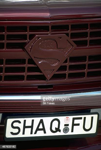 Closeup portrait of car with Superman logo on grill and license plate reading SHAQ FU belonging to Orlando Magic Shaquille O'Neal during photo shoot...