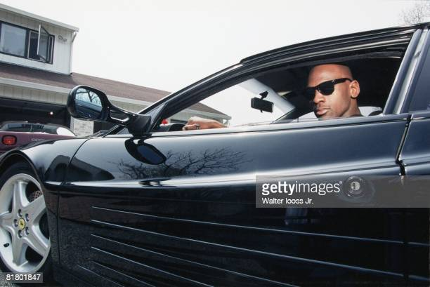 Basketball Closeup portrait of Chicago Bulls Michael Jordan in car