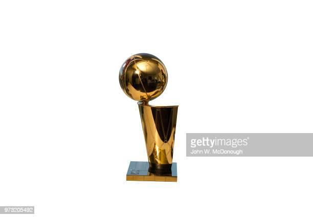 Closeup portrait of Larry O'Brien Trophy for NBA Finals champion during photo shoot San Francisco CA CREDIT John W McDonough