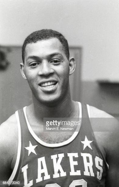Closeup portrait of Minneapolis Lakers Elgin Baylor in locker room before game vs New York Knicks at Madison Square Garden New York NY CREDIT Marvin...