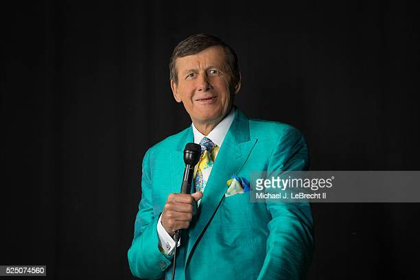 Closeup portrait of TNT sideline reporter Craig Sager posing while holding microphone during photo shoot at Quicken Loans Arena Sager who recently...