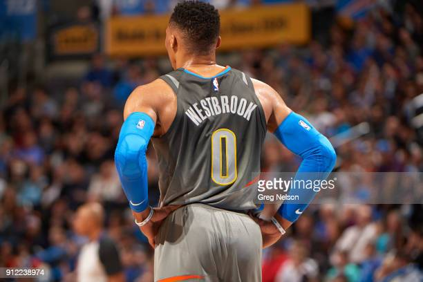 Closeup rear vierw of Oklahoma City Thunder Russell Westbrook during game vs Washington Wizards at Chesapeake Energy Arena Oklahoma City OK CREDIT...