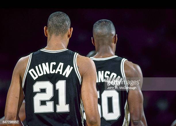 Closeup rear view of San Antonio Spurs Tim Duncan and David Robinson during game vs Los Angeles Lakers at The Forum Inglewood CA CREDIT John W...