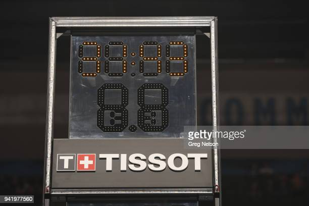 Closeup view of shot clock before Oklahoma City Thunder vs San Antonio Spurs at Chesapeake Energy Arena Equipment Oklahoma City OK CREDIT Greg Nelson