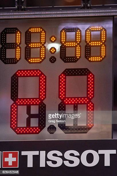 Closeup view of shot clock with Tissot company logo during Dallas Mavericks vs Los Angeles Clippers game at American Airlines Center Equipment Dallas...