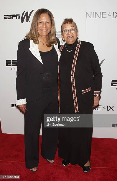 Basketball Coach C Vivian Stringer and her mother attend 'Venus Vs' and 'Coach' New York Special Screening at Paley Center For Media on June 24 2013...