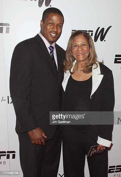Basketball Coach C Vivian Stringer and son Justin Stringer attend 'Venus Vs' and 'Coach' New York Special Screening at Paley Center For Media on June...