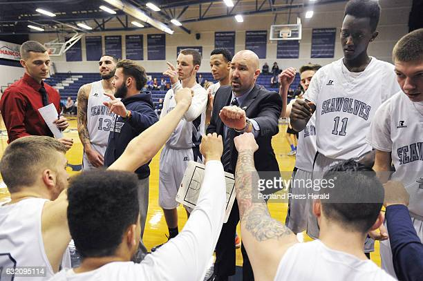 SMCC basketball coach Matt Richards talks with his team prior to their game against St Joseph's of Vermont Saturday January 14 2017