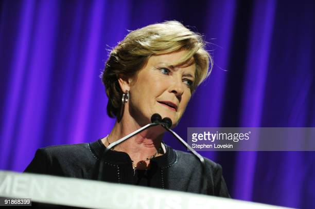Basketball coach Pat Summitt speaks onstage during the 30th Annual Salute To Women In Sports Awards at The Waldorf=Astoria on October 13 2009 in New...