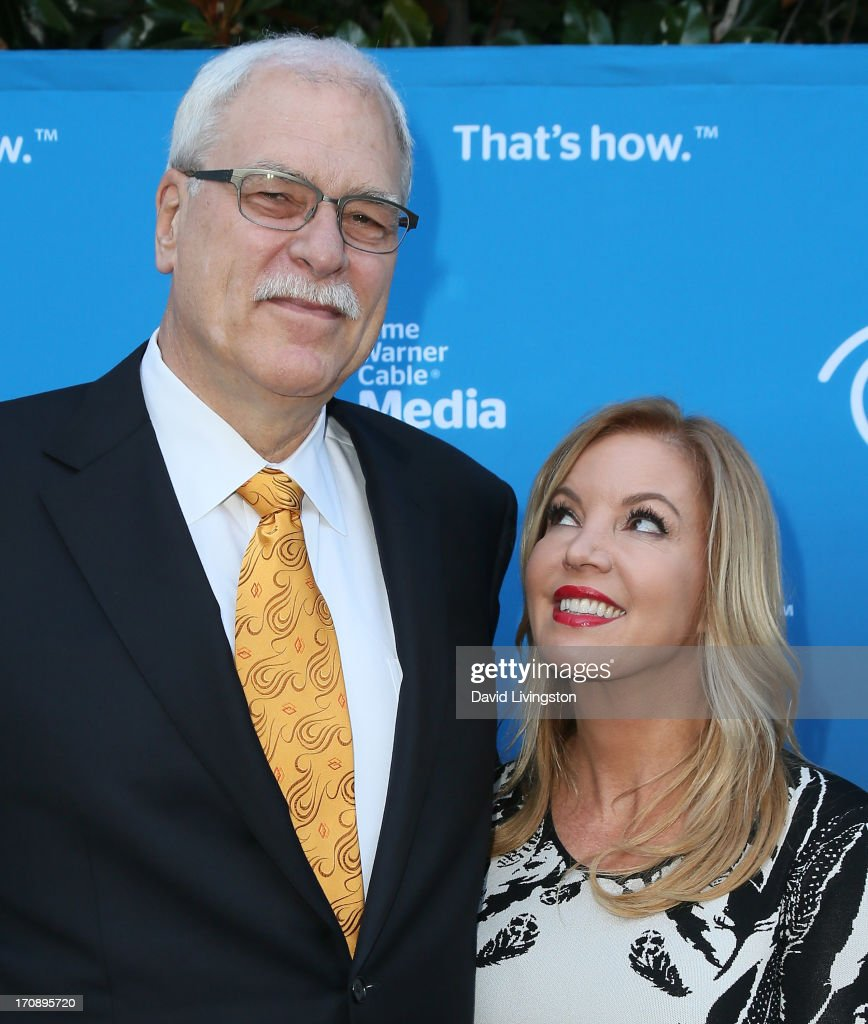 Basketball coach Phil Jackson (L) and Los Angeles Lakers executive vice president of business operations Jeanie Buss attend Time Warner Cable Media (TWC Media) 'View From The Top' Upfront at Vibiana on June 19, 2013 in Los Angeles, California.