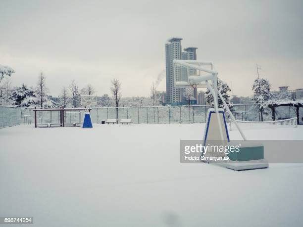 Basketball court covered by snow in Seoul, South Korea