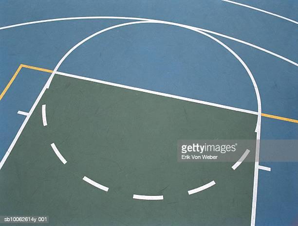 basketball court, elevated view - terrain de jeu photos et images de collection