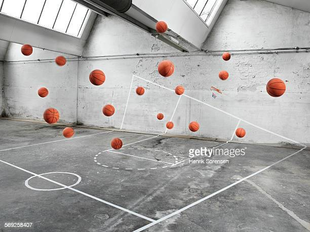 Basketball court filled with basketballs