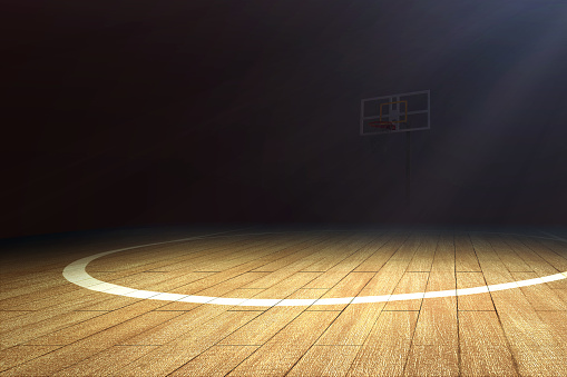 Basketball court with wooden floor and a basketball hoop 1195558598