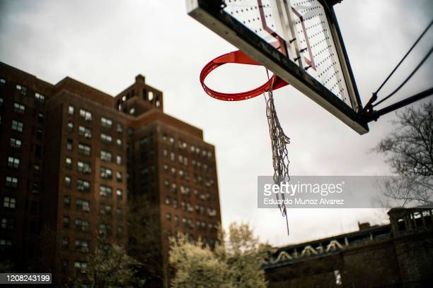 Basketball courts are seen empty due to coronavirus spread on March 25 2020 in New York City New York Across the country schools businesses and...
