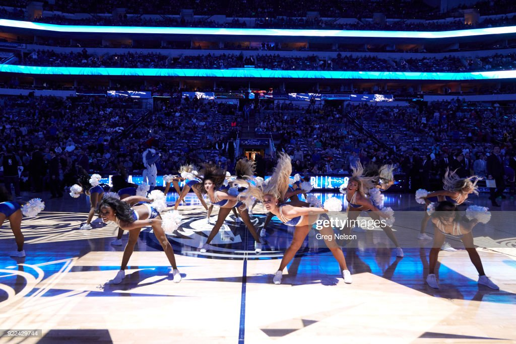 Dallas Mavericks cheerleaders performing on court during game vs Los Angeles Lakers at American Airlines Center. Greg Nelson TK1 )