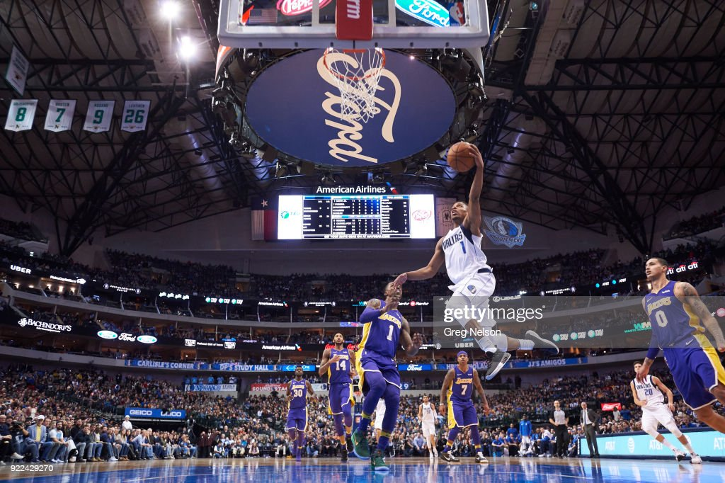Dallas Mavericks Dennis Smith Jr. (1) in action vs Los Angeles Lakers at American Airlines Center. Greg Nelson TK1 )