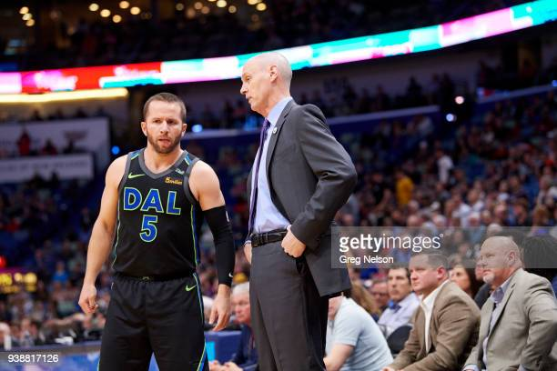 Dallas Mavericks JJ Barea with coach Rick Carlisle during game vs New Orleans Pelicans at Smoothie King Center New Orleans LA CREDIT Greg Nelson