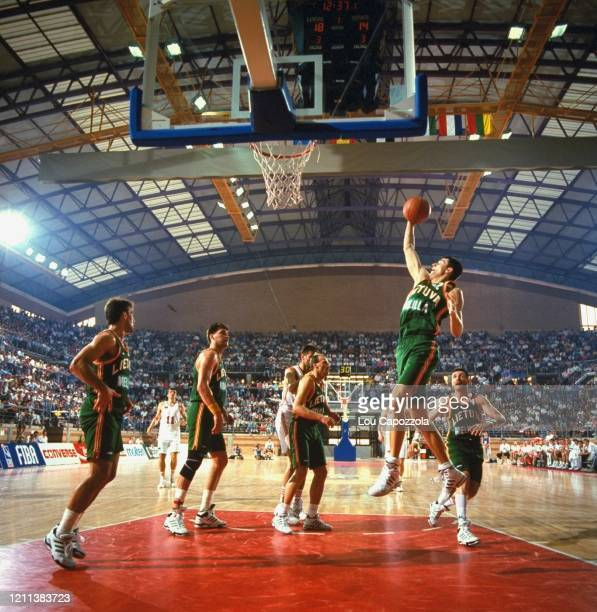 European Olympic Qualifying Tournament Lithuania Arturas Karnisovas in action vs Unified Team at CDM La Granadilla Pabellon Badajoz Spain 6/26/1992...