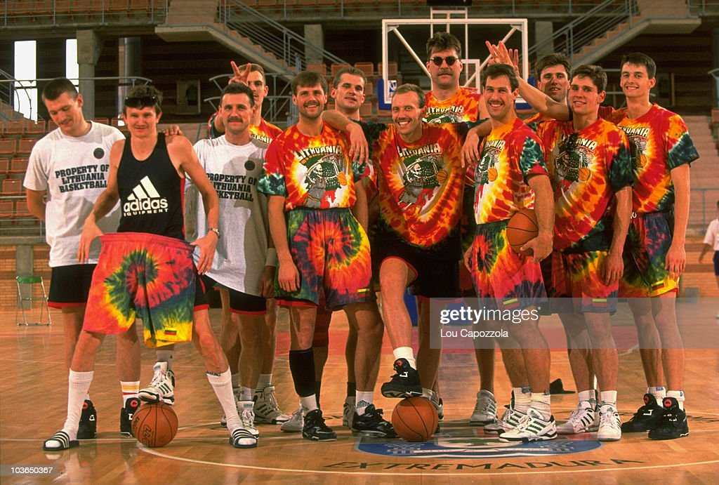 Portrait of Team Lithuania wearing tie dyed uniforms donated by the Grateful Dead during team photo shoot at CDM La Granadilla Pabellon. Badajoz, Spain 6/26/1992