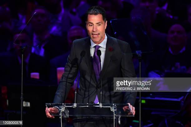 US basketball executive Rob Pelinka speaks during the Celebration of Life for Kobe and Gianna Bryant service at Staples Center in Downtown Los...
