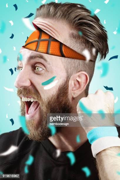Basketball fan with basketball inside the head Charlotte color