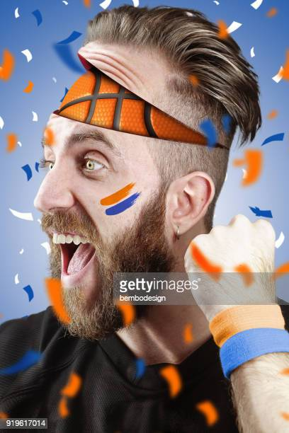 Basketball fan with basketball inside the head New York Color