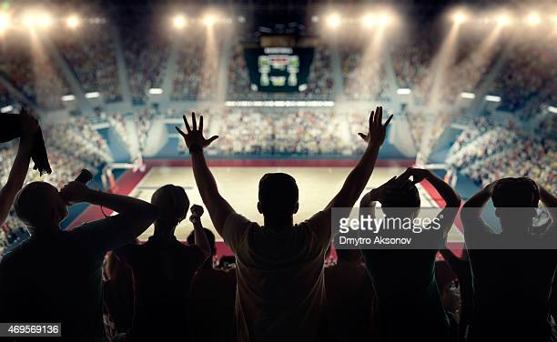 Basketball fans at basketball arena