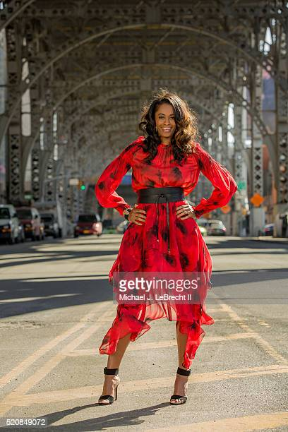 Fashionable 50 Portrait of New York Liberty forward Swin Cash posing during photo shoot on 125th Street New York NY CREDIT Michael J LeBrecht II