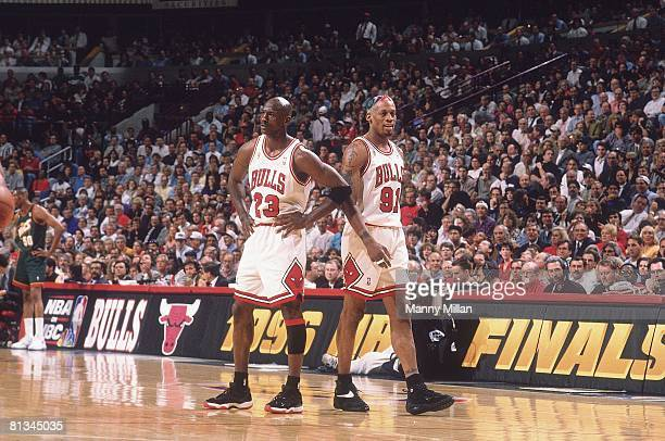 Basketball finals Chicago Bulls Michael Jordan and Dennis Rodman during game vs Seattle SuperSonics Chicago IL 6/5/1996