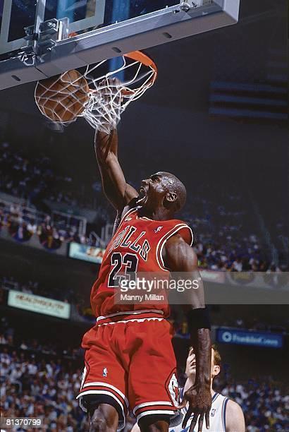Basketball finals Chicago Bulls Michael Jordan in action making dunk vs Utah Jazz Salt Lake City UT 6/5/1998