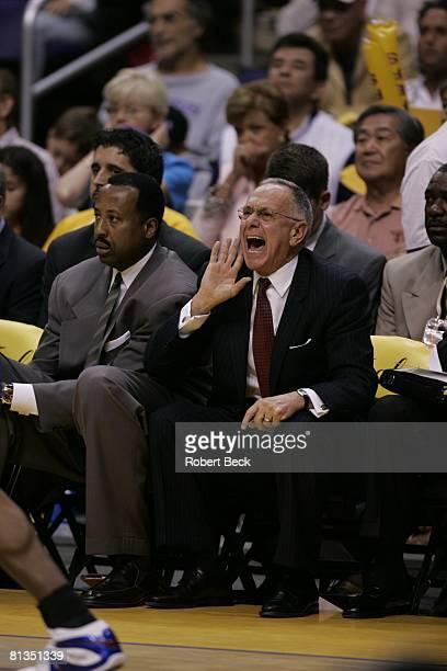 Basketball finals Detroit Pistons coach Larry Brown upset during game vs Los Angeles Lakers Los Angeles CA 6/6/2004