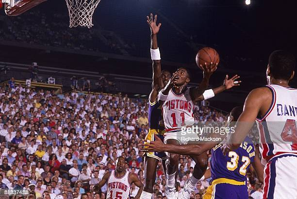 Basketball finals Detroit Pistons Isiah Thomas in action taking layup vs Los Angeles Lakers Detroit MI 6/14/1988